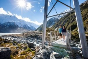 Walkers in Hooker Valley Leisure Time Travel New Zealand